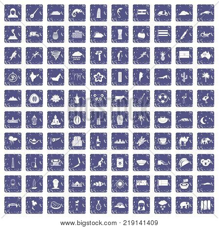 100 exotic animals icons set in grunge style sapphire color isolated on white background vector illustration poster