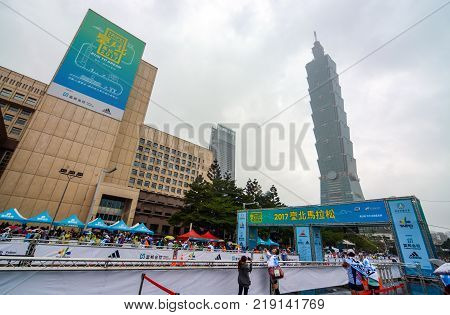 TAIPEI, TAIWAN - DECEMBER 17, 2017 - Starting and finishing point for the 2017 Taipei International Marathon near the 101 building