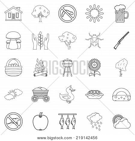 Countryside icons set. Outline set of 25 countryside vector icons for web isolated on white background
