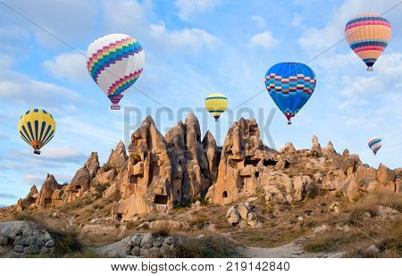 Unique Geological Formations In Red Valley, Cappadocia, Turkey