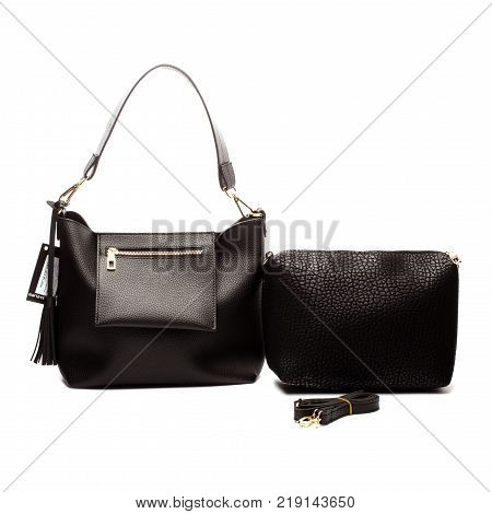 Black Women's handbag, Ladies bag, Black female clutch, Black clutch.Women's bag isolated white background.Bag isolated white background.Clutch isolated white background.