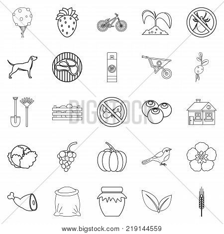 Colony icons set. Outline set of 25 colony vector icons for web isolated on white background