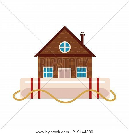 Vector flat house insurance concept. Private house being protecting from flood disasters by big inflatable unsinkable ring. Natural disaster insurance. Isolated illustration on a white background