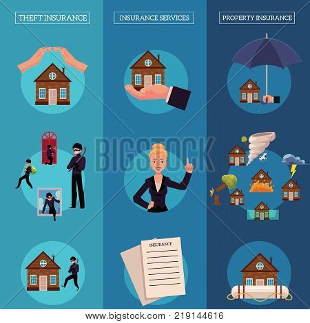 Vector house insurance infographic posters set. House, property insurance, insurance services. Natural disasters, thief, housebreaking compensation for damage. Illustration on blue background.