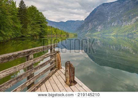 Pier On The Beautiful Lake Bohinj, Julian Alps
