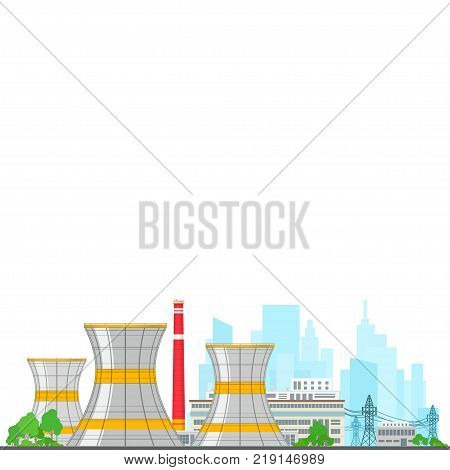 Nuclear Power Plant on White Background Thermal Power Station and Text Nuclear Reactor and Power Lines Poster Brochure Flyer Design