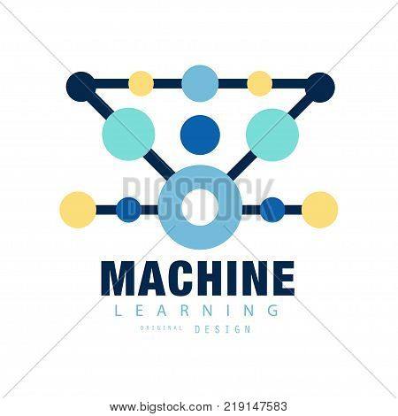 Modern logo of machine learning. Computer training. Geometric technology icon with colored circles. Isolated flat vector illustration. Design element for mobile app, label or badge of business company