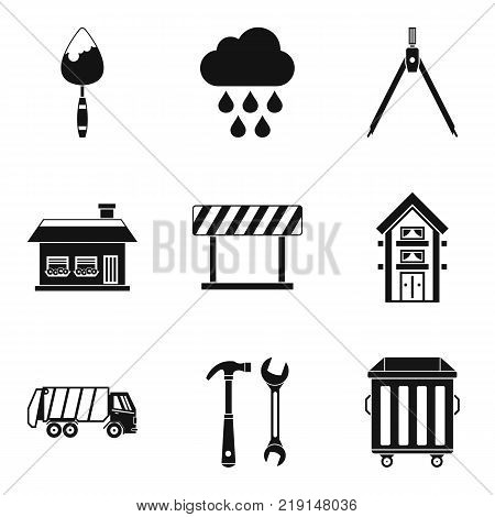 Construction project icons set. Simple set of 9 construction project vector icons for web isolated on white background