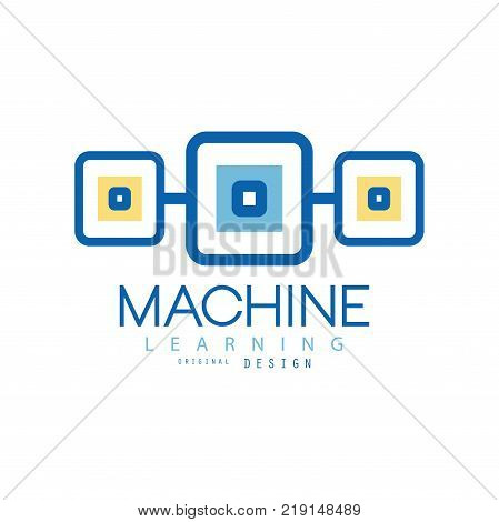 Illustration of machine learning logo. Geometric symbol of modern technologies. Computer industry concept. Vector isolated on white. Flat graphic design for advertising poster or corporate identity.