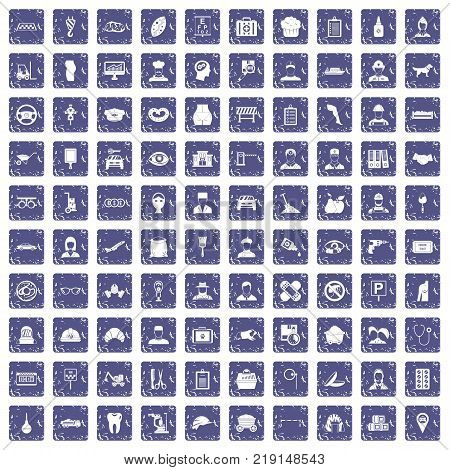 100 favorite work icons set in grunge style sapphire color isolated on white background vector illustration