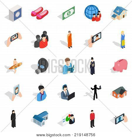 Pair icons set. Isometric set of 25 pair vector icons for web isolated on white background
