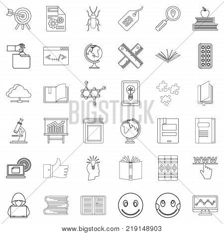 Student icons set. Outline style of 36 student vector icons for web isolated on white background