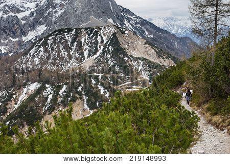 Tourist On The Path On The Pass Vrsic, Julian Alps.