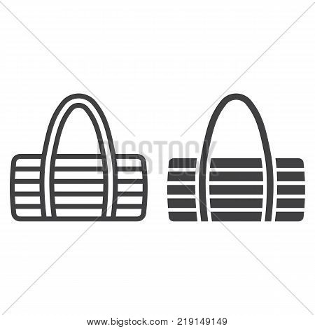 Fitness bag line and glyph icon, fitness and sport, sport bag sign vector graphics, a linear pattern on a white background, eps 10.
