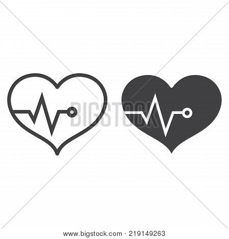 Heart pulse line and glyph icon, fitness and sport, heartbeat sign vector graphics, a linear pattern on a white background, eps 10.