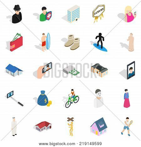 Relation icons set. Isometric set of 25 relation vector icons for web isolated on white background