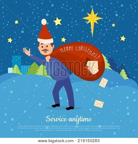 Service anytime. Postman in Christmas hat hurry to deliver letters. Bag full of mails dropping through hole. Web banner. Congratulation with greeting cards. Winter scenery landscape. Vector