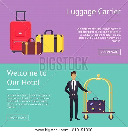 Welcome to our hotel and luggage carrier web page design with baggage and bellman greeting guest of site. Vector illustration with space for text and buttons