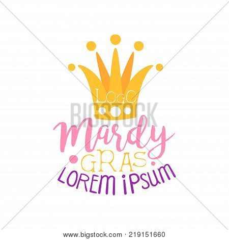 Illustration of orange fool s cap and hand drawn festive lettering for Mardi Gras holiday logo design. Label with cap and bells for cards, invitations. Masquerade or carnival theme. Vector on white.