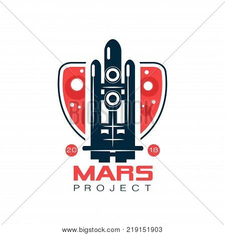 Logo for Mars project with abstract image of flight rocket. Space shuttle in line style with dark blue and red colors. Graphic emblem for colonization program, journey into space. Flat vector design.