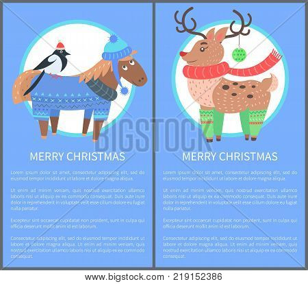 Merry Christmas postcard with horse wearing sweater and hat and bullfinch sitting on its back and deer rudolf, vector illustration isolated on blue