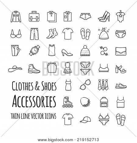 Clothes, shoes, accessories thin line vector set icons for your design