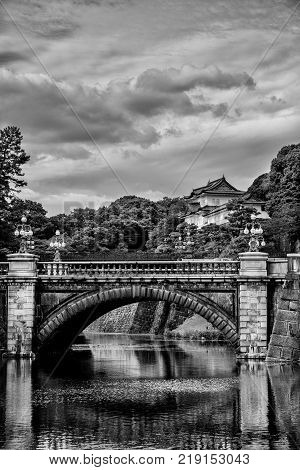 Tokyo Imperial Palace Outer Gardens with the famous Nijubashi Bridge (Black and White)