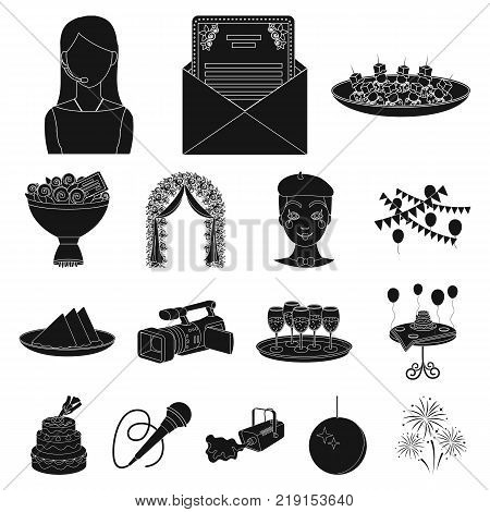Event Organisation black icons in set collection for design.Celebration and Attributes vector symbol stock  illustration.