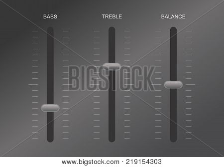 Illustration of a sound equalizer control for bass, treble and balance