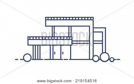 Residential house with large panoramic windows built in contemporary architectural style. Modern living city building drawn with blue contour lines on white background. Monochrome vector illustration