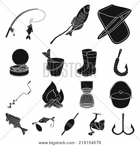 Fishing and rest black icons in set collection for design. Tackle for fishing vector symbol stock  illustration.