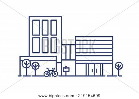 Living city building in contemporary architectural style surrounded by trees and bicycle parked beside it. Modern dwelling drawn with blue contour lines on white background. Vector illustration