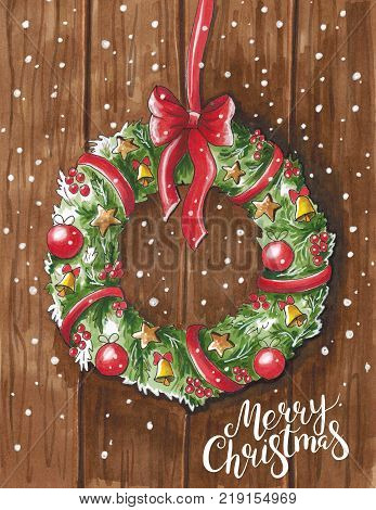 Sketch markers Christmas wreath on wooden door. Sketch done in alcohol markers. You can use for greeting cards posters and design projects.