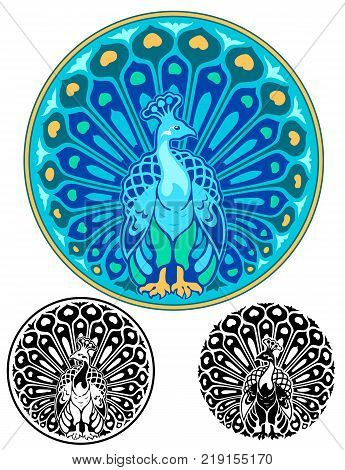 Art Nouveau style emblem of a peacock with spread tail. Comes with two bonus black and white versions
