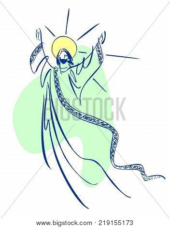 Free form sketch style depiction of Christ ascending to Heaven