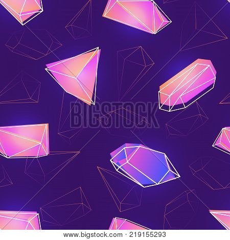 Seamless pattern with natural pink gemstones, mineral crystals or precious and semiprecious faceted stones and their outlines on purple background. Vector illustration for wallpaper, textile print