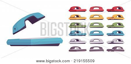 Desk phone set. Table telephone to make and receive calls, office communication system equipment. Vector flat style cartoon illustration isolated on white background, different colors and positions