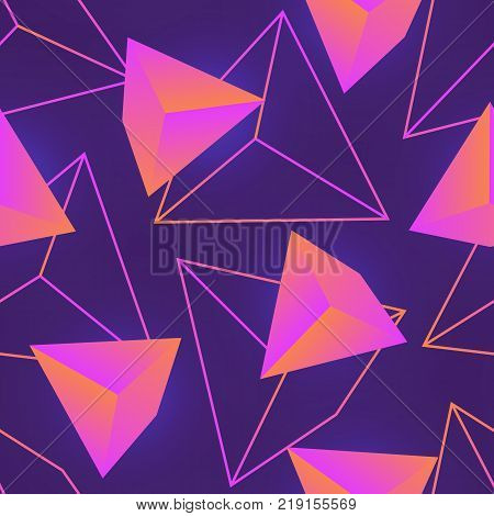 Seamless pattern with neon colored gemstones, mineral crystals or pyramids and their outlines on purple background. Stylish colorful vector illustration for wallpaper, fabric print, backdrop