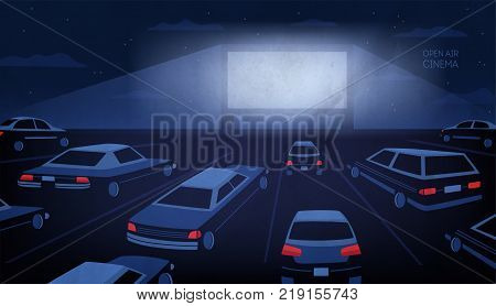 Open air, outdoor or drive-in cinema theater at night. Large movie screen glowing in darkness surrounded by cars against evening sky with stars and clouds on background. Cartoon vector illustration