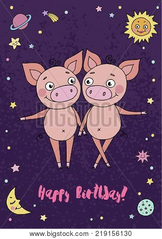 Gemini zodiac sign on night sky background with stars, sun, moon and planets. Cartoon illustration of cute pigs for calendars, greeting cards, birthday and other holiday