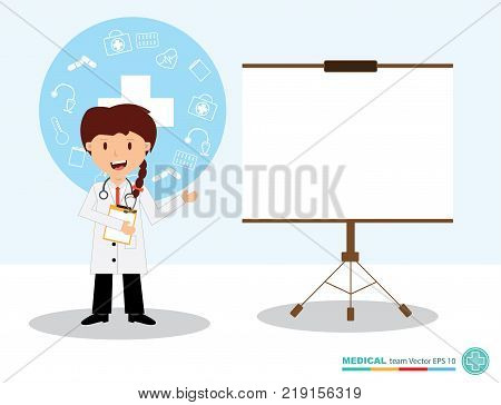 The professional medical team for health life concept with logo little doctor boy girl in gown suit and cartoon act - vector illustration Eps 10.
