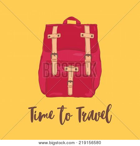 Classical red fold over backpack or rucksack in vintage style isolated on orange background and Let s Go Travel motivational slogan. Touristic bag, travel accessory. Colorful vector illustration