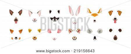 Collection of video chat application effects. Bundle of cute and funny faces or masks of various animals - dog, cat, fox, raccoon, rabbit, koala, bear, mouse, deer. Colorful vector illustration