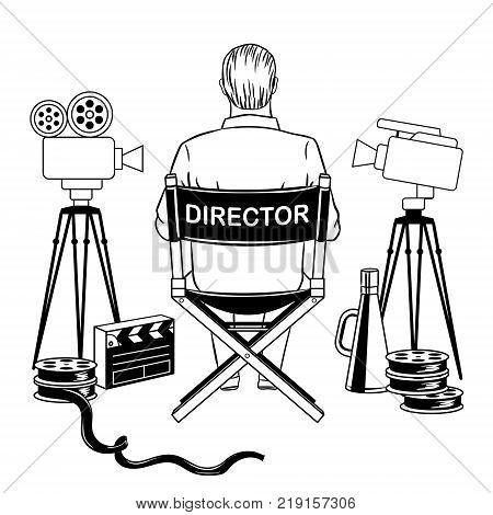Stage director on set coloring book vector illustration. Comic book style imitation.