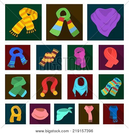 Scarf and Shawl flat icons in set collection for design.Clothes and Accessory vector symbol stock illustration.