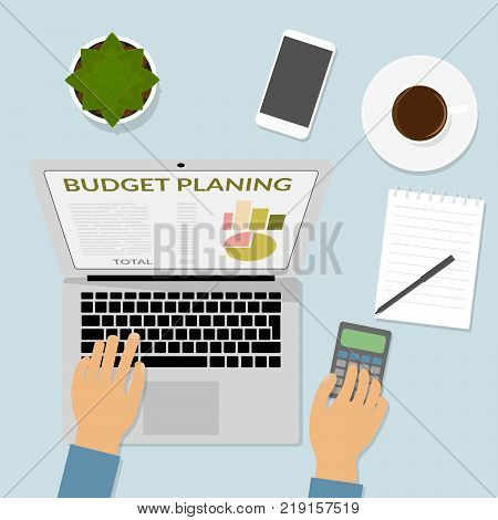 Hand on computer keyboard calculates on calculator. Schedule calculator pencil notebook desktop. Top view flat design vector. Budget planning financial report cost accounting spending.