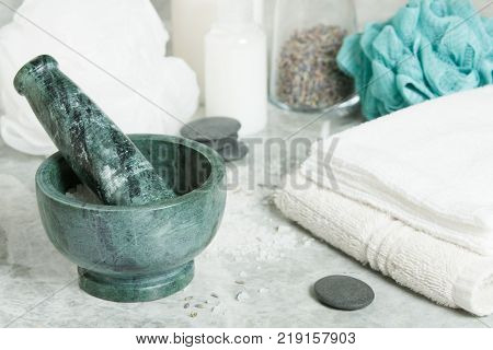 Spa Room. Aroma Salt. Mortar. Dried Lavender Flowers. Toiletries