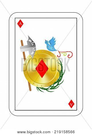 The beautiful card of the ace of diamonds in classic style. poster