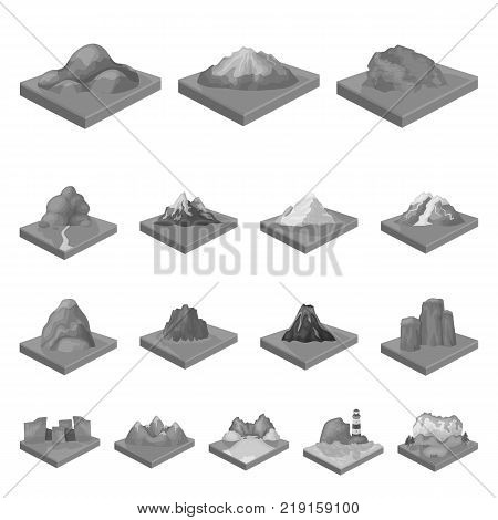 Mountains, massive monochrome icons in set collection for design. The surface of the earth vector isometric symbol stock  illustration.