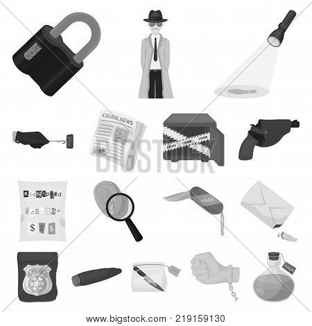 Detective agency monochrome icons in set collection for design. Crime and investigation vector symbol stock  illustration.